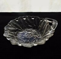 "Indiana Glass Clear Wild Rose 4 1/2"" Handled Berry Bowl"
