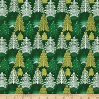 Seasons Greeting Christmas Tree Green Fabri-Quilt 100% Cotton fabric by the yard