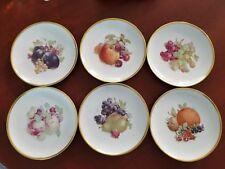 """6- JKW Fine Porcelain Western Germany Fruit Plates 7 3/4"""" Gold Trim Stamped 1930"""