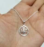 925 Sterling Silver Tree Of Life Charm Pendant  Chain Necklace