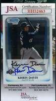 Khris Davis 2011 Bowman Chrome Refractor Rookie JSA Coa Autograph Hand Signed