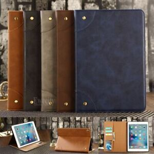 Folio Retro Wallet Leather Stand Smart  Sleep/Wake up Case Cover For iPad Model