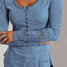 Women's Fashion Long Sleeve Shirt Casual Lace Blouse Loose Cotton Tops T Shirt