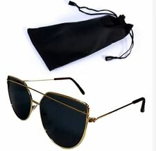 Cat Eye Sunglasses Gold Frame Black Lens Shades with Pouch