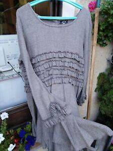Robe AUREA VITA - Taille XL couleur taupe en lainage