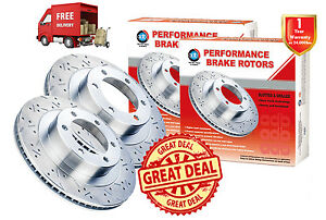 For CITROEN C3 1.6L 266mm 03-On FRONT Slotted Drilled Disc Brake Rotors (2)