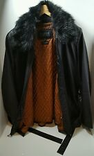 Wilsons PELLE STUDIO XL 16 14 Leather Long Black Coat Removeable Thinsule Lining
