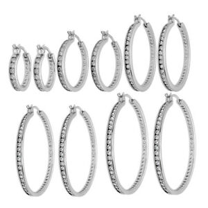 925 Sterling Silver Stunning Multi-CZ Eternity Hoop Earrings 9-Sizes