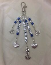 "*Gift - ""Bride & Groom"" Wedding Key Ring/Handbag 5 Charm Beaded Keepsake*"