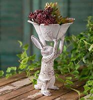 Distressed Antique White Cast Iron Rabbit with Flower Bird Feeder