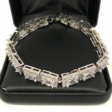 28.74 Ct White Cubic Zirconia Halo Bracelet 14K White Gold Plated Jewelry Gift