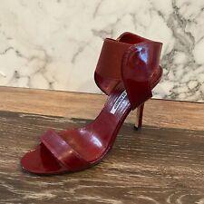 MANOLO BLAHNIK Burgundy Open Toe Patent Leather Strappy Sandal Heels - US 7