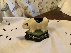 Vintage Cast Iron Painted Small Pig Door Stop