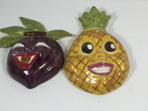 Anthropomorphic kitschy pineapple and plum decorative wall plaques Bin#1