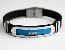 JOHN - Mens Silicone & Blue Name Plate Engraved Bracelet - Gifts For Him