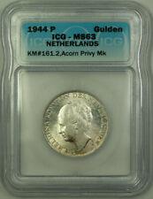 1944-P Netherlands Silver 1 Gulden Coin ICG MS-63 Acorn Privy Mark KM#161.2