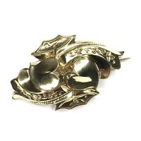 Antique Victorian Brooch Puffy Double Heart C Clasp Pin Rolled Gold RGP