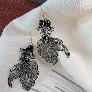Koi Goldfish, Lightweight Black Metal Fish Earrings, New