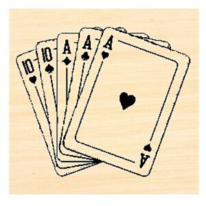 P123 Playing cards Rubber Stamp