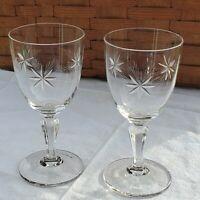 2 MCM Atomic Starburst Etched Crystal Cocktail Liquor Glasses vintage celestial