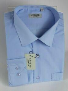 Camicia Uomo Attore Manica Lunga 100%Cotone Taglie Forti 45/51 Calibrata art 321