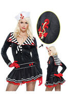 Ladies Sexy Lady Sailor Navy Costume 2 Piece All in One Dress & Cap Size 10-12