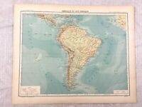 1894 Antique Map of South America Continent Physical Old 19th Century French