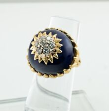 Blue Enamel Diamond Ring 18K Gold Italy Vintage