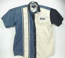 Vtg Wrangler size 2Xt Men's Western Blue Denim, White Short Sleeve Button Shirt