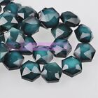 5pcs 14mm Hexagon Shape Faceted Glass Loose Spacer Beads Porcelain Dark Green