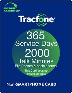 TracFone 1 Year 365 Days Service Digital Refill 2000 Minutes for Basic phones