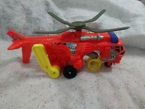 Matchbox Tuff Crane Rescue Helicopter Toy, Lever Operated Propeller & Crane