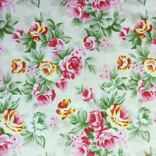 Floral Polycotton Fabric Metre Crafts Material Rose Floral Flower Pink