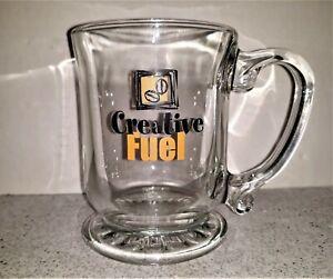 14 oz Bean Creative Fuel Clear Glass Morning Artist Writer Coffee Mug Tea Cup