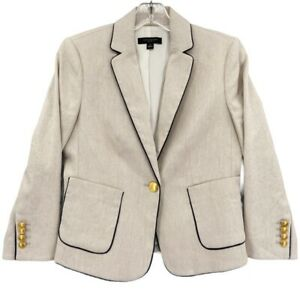 Ann Taylor Womens Suit Jacket Beige Stretch Long Sleeve Pockets Lined Petite 2P