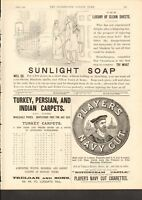 1892 ANTIQUE PRINT- ADVERT- SUNLIGHT SOAP, CLEAN SHEETS, PLAYER'S NAVY CUT