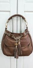 Russell & Bromley Brown Tan Leather Hobo Gold Chain Drawstring Tassel Detail Bag