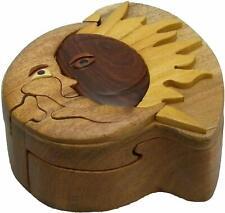 Sun Moon-Wooden Puzzle Box Intarsia Wood Decorative Jewelry Trinket Box