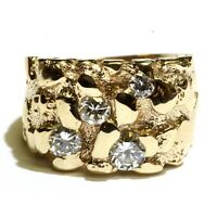 14k yellow gold .79ct VS1 H diamond cluster nugget womens ring 11g estate