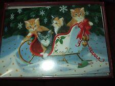 leanin' tree christmas cards box set kittens in sleigh USA 10 envelopes new