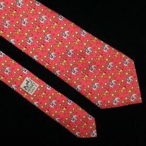 HERMES TIE 5416 OA Elephant & Horse on Red Classic Silk Necktie