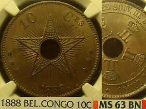 Belgian Congo 1888 10 Centimes NGC MS-63 BN~Fantastic