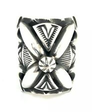 Native American Navajo Sterling Silver Handmade Old Look Stamp Ring Size 8