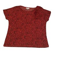 JACLYN SMITH Short Sleeve Shirt Floral Women's Size Large Red