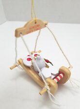 Wooden Mouse in Hammock Christmas Tree Ornament Vintage Season's Greetings