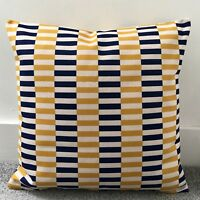"""Navy Blue And Mustard Yellow Striped Cushion Cover 18"""" 45cm Geometric"""