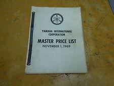 USED YAMAHA MASTER PRICE LIST BOOK NOVEMBER 1, 1969