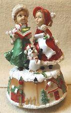 "Vintage Music Box-Christmas Carolers-6 1/2"" Tall-Very Nice-Great Patina!"