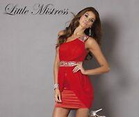 New LITTLE MISTRESS One Shoulder Drape Front Red or Black Dress UK Size 6 10 12