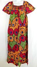 Ankara African Wax Womens Long Maxi Dress With Details Square Neckline Approx. L
